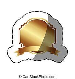 Sticker gold dekorative heraldic Rahmen Design mit Band.