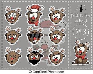 Sticker Set von Ruddy, der Hirsch 3 Vektor.