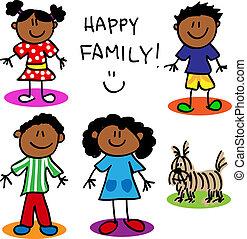 Stickfigur, schwarze Familie