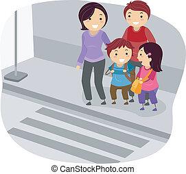 Stickman-Familie überquert eine Straße