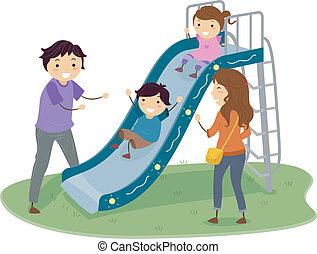 Stickman-Familie auf dem Spielplatz