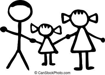 Stickman Familie - Dad Tochter Mom.