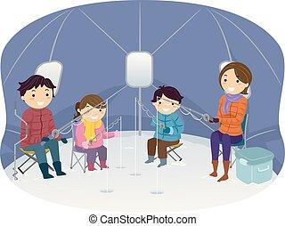 Stickman Familie Eisfischen Zelt Illustration.