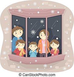 Stickman-Familie schneit zu.