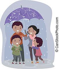 Stickman-Familie unter einem Regenschirm