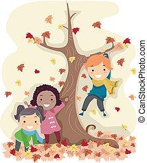 Stickman Herbstblätter