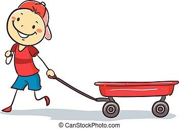 Stickman-Junge zieht einen roten Wagen.