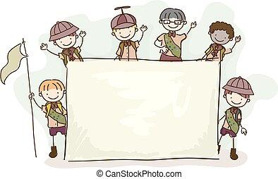 Stickman Kids Board Boy Scouts Illustration.