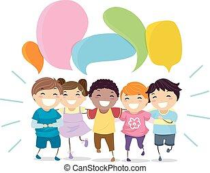 Stickman-Kids, die lachen, blasen Illustrationen.