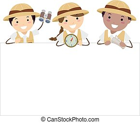 Stickman Kids Entdecker-Board Illustration.