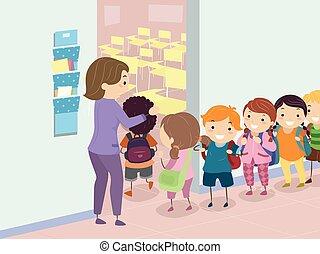 Stickman-Kids gehen ins Klassenzimmer.