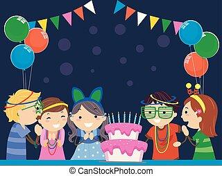Stickman-Kids glühen in der dunklen Geburtstagsparty.