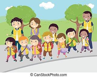 Stickman-Kids laufen mit dem Bus.