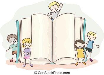 Stickman-Kids schreiben eine offene Illustration.