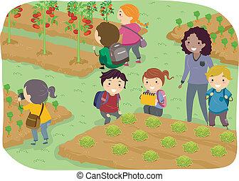 Stickman-Kids Schulausflug in den Gemüsegarten.