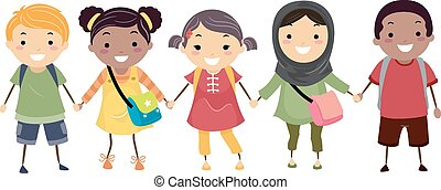 Stickman-Kids Schule Vielfalt.