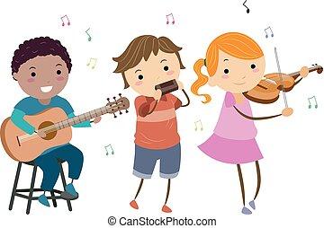 Stickman-Kids spielen Country-Musik.