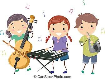 Stickman-Kids spielen Jazzmusik.