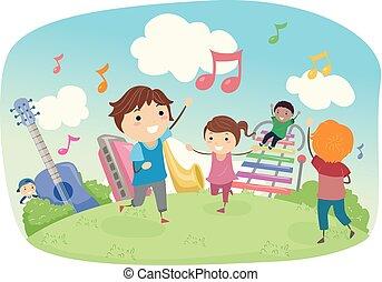 Stickman-Kids spielen Musikfeld Illustration.