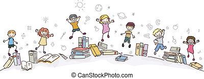 Stickman-Kids springen mit Büchern.