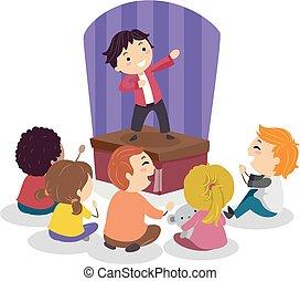 Stickman-Kinder Comedy-Show Illustration.