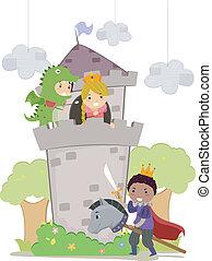 Stickman-Kinder in Drachen- und Prinzessinnen-Schule