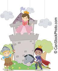 Stickman-Kinder in Prinzessin und Springer-Schule