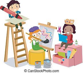 Stickman-Kinder machen Kunst und Handwerk