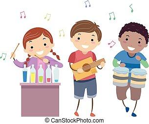 Stickman Kinder Musikinstrumente Illustration.