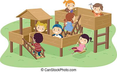 Stickman-Kinder spielen im Park