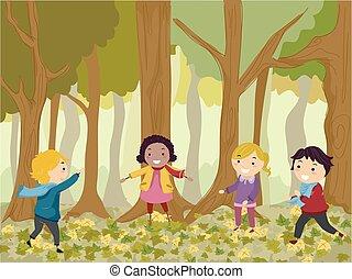 Stickman-Kinder spielen in der Illustration.