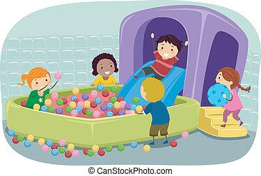 Stickman-Kinder spielen in einer aufblasbaren Box