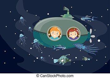 Stickman-Kinder-U-Boot-Biolumineszenztiere.