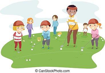 stickman, lektion, kinder, golfen