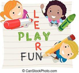 stickman, lernen, kinder, spielen, spaß
