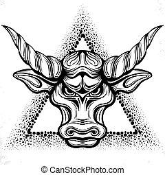 stier, kopf, kunst, inspiration, logo, zeichnung, design, linie