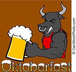 stier, starke , aufkleber, oktoberfest, karikatur
