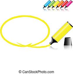 Stifte mit ausgewähltem Bereich in verschiedenen Farben