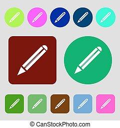 Stiftzeichen-Ikone. Bearbeiten Sie den Knopf Inhalt. 12 farbige Knöpfe. Flat Design. Vector