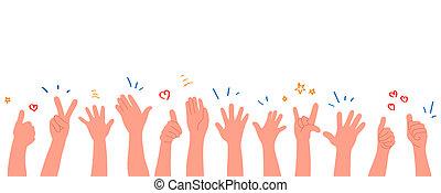 stil, applaudieren, abbildung, menschliche , hands., clapping., wohnung, hände