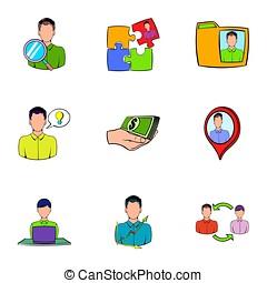 stil, beziehung, karikatur, satz, geschäfts-ikon