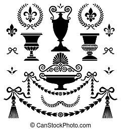 stil, elemente, design, klassisch