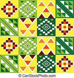 stil, grün, oder, motiv, textilien, nwentoma, vektor, afrikanisch, stammes-, inspiriert, stoffe, seamless, kente tuch, geometrisch, ghana, muster, rotes gelb