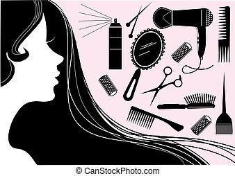 stil, haar, schönheit salon, vektor, element.
