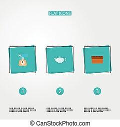 stil, heiligenbilder, kessel, satz, app, bread, symbole, wohnung, dein, beweglich, design., andere, web, logo, waage, kochen
