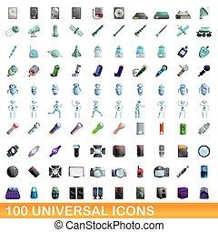 stil, heiligenbilder, universal, satz, 100, karikatur
