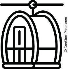 stil, ikone, drahtseilbahn, grobdarstellung