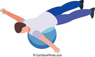 stil, kugel, training, isometrisch, therapeut, physisch, ikone