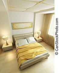 stil, modern, übertragung, schalfzimmer, inneneinrichtung, 3d