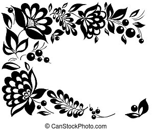 stil, schwarzweiss, leaves., element, design, retro, blumen-, blumen